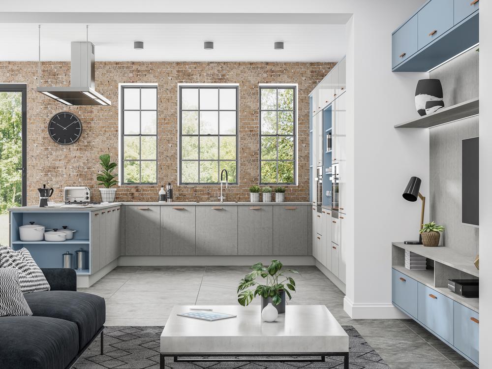 Lastra Concrete, Denim & Puro Dove Grey